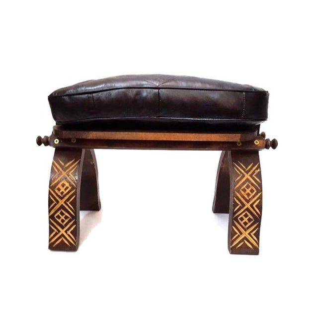 Black Moroccan Handmade Leather Bench - Image 3 of 4