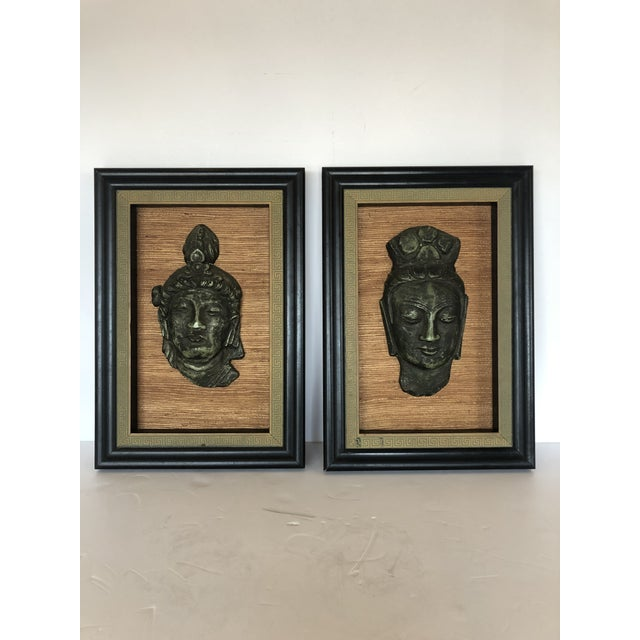 Hollywood Regency Framed 3d Buddhas With Greek Key Border -Pair For Sale - Image 11 of 11