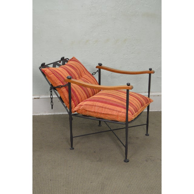 Hand Forged Steel Frame & Wood Frame Reclining Arm Chairs For Sale - Image 5 of 10