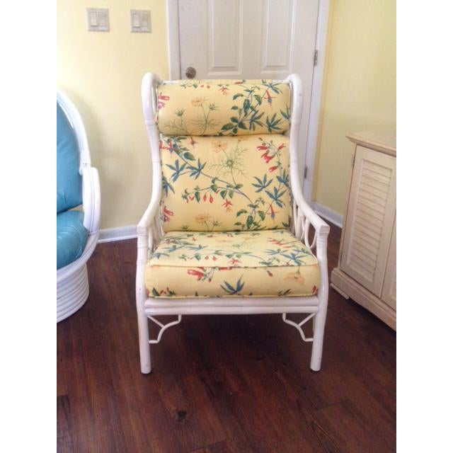 White Ficks Reed Chinoiserie Wing Chair For Sale - Image 8 of 8