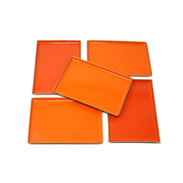 Plastic Vintage Orange Lacquered Trays - Set of 5 For Sale - Image 7 of 11
