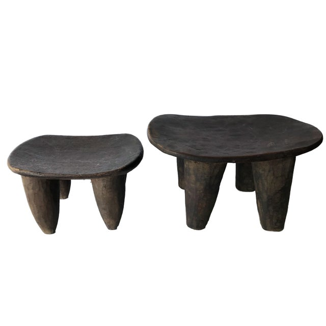 African Senufo Wood Milk Stool I . Coast S/ 2 For Sale - Image 9 of 9