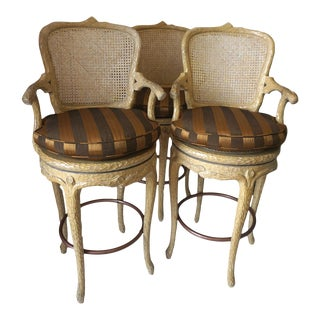 Faux Bois Style Swivel Bar Stools - Set of 3