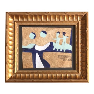 """Original Contemporary Abstract Wayne Cunningham """"Hands Across America """" Painting/Collage Framed For Sale"""
