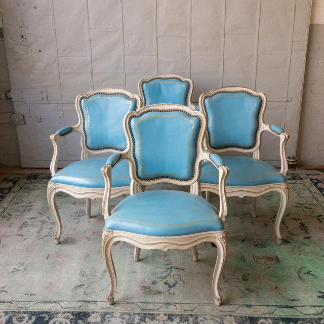 1960s Louis XV Style Blue Leather Armchairs - Set of 4 For Sale - Image 12 of 12