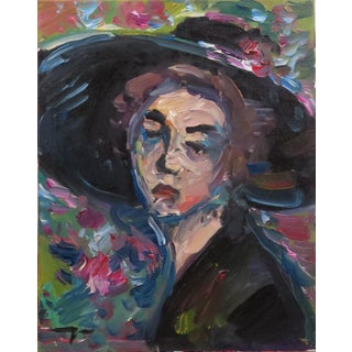 Jose Trujillo Expressionism Portrait Woman Hat Flowers Oil Painting For Sale