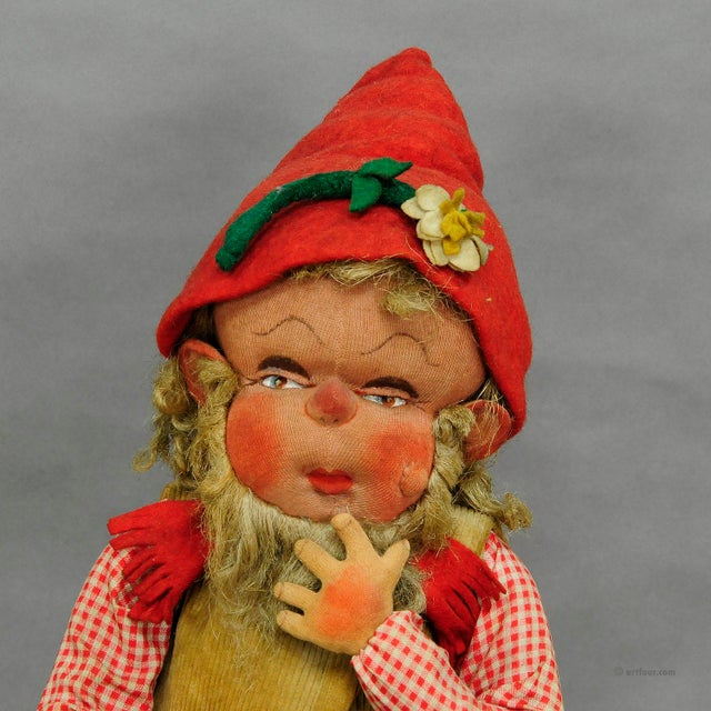A Pair Of Whimsical Handmade Felt Gnomes, Germany Ca. 1930 For Sale - Image 4 of 9