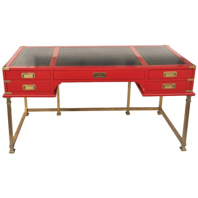 Vintage Campaign Style Writing Table/Desk Lacquered in Red For Sale - Image 11 of 11