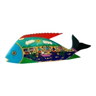 Vintage Mexican Oaxaca Hand Painted Carved Wood Fish For Sale