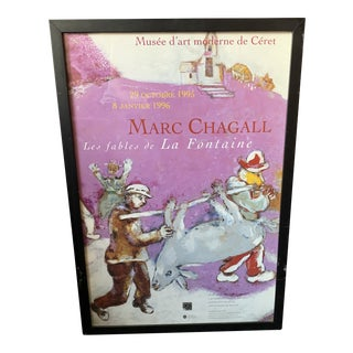 1995 Chagall Ceret Museum Exhibition Poster, Framed For Sale
