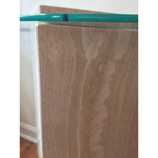 Glass 1980s Postmodern Geometric Travertine and Glass Console Table For Sale - Image 7 of 11