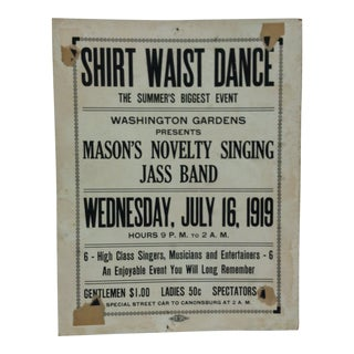 "1919 Vintage ""Shirt-Waist Dance"" Washington Gardens Sign For Sale"