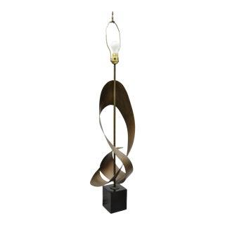 Mid Century Modern Brutalist Harry Balmer Ribbon Table Lamp for Laurel For Sale