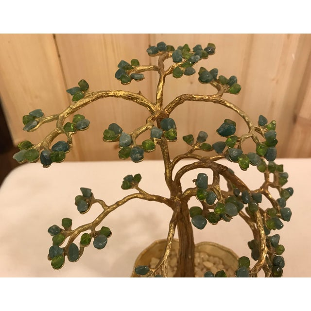 Mid-Century Modern Agate Bonsai Tree in Gold Dish - Image 7 of 10