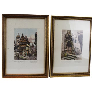 Pasargad N Y Architectural Painting Prints - a Pair For Sale