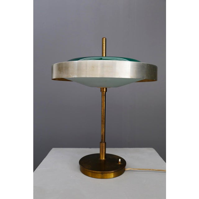 Mid-Century Modern Oscar Torlasco MidCentury Table Lamp in Brass and Cased Glass by Lumi 1950s For Sale - Image 3 of 9
