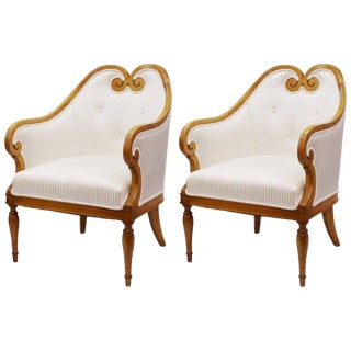 White Stripe Upholstered Biedermeier Occasional Chairs - A Pair