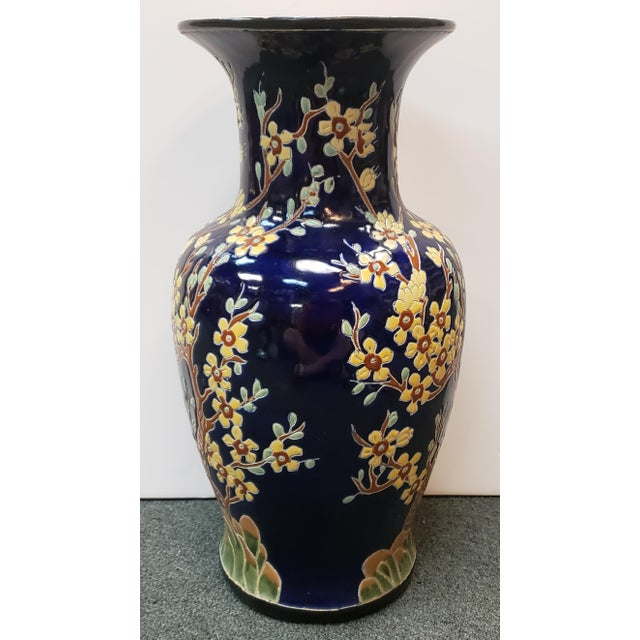 Up for sale is a Circa 1880 French Longwy Style Pottery Enameled Yellow Cherry Blossom Motifs Baluster Vase! It measures...