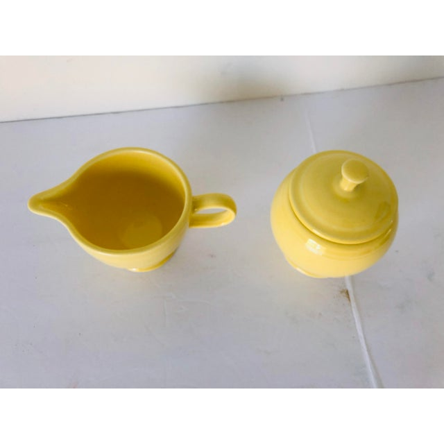 1960s Fiesta Ware Yellow Sugar & Creamer Set Old Marks For Sale - Image 5 of 6
