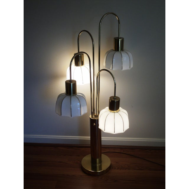 Hollywood Regency Brass & Glass Arc Table Lamp For Sale - Image 4 of 8