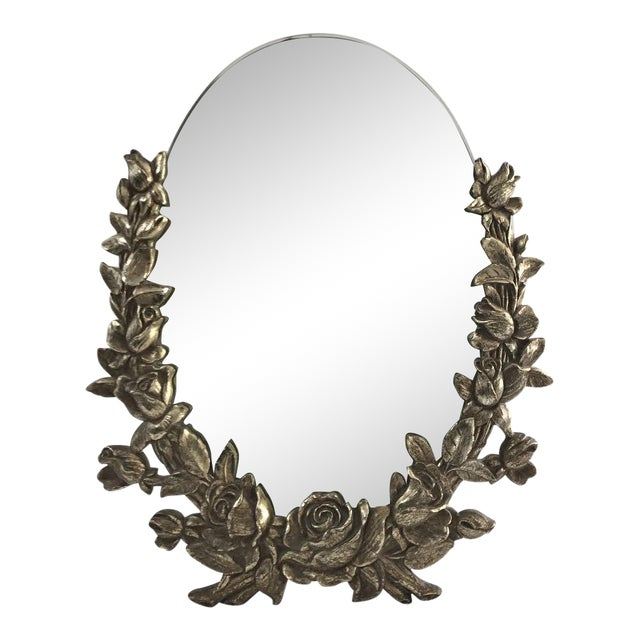 Vintage Brass Floral Mirror - Image 1 of 6