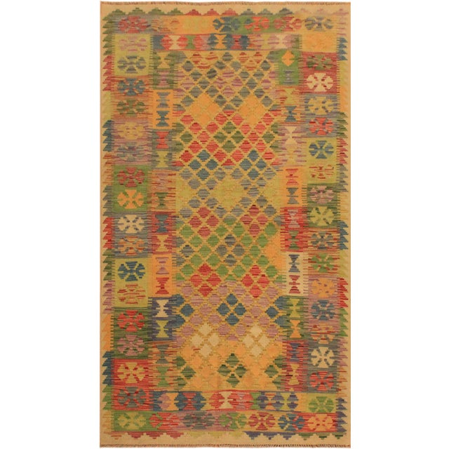 White Kilim Arya Romilly Ivory/Blue Wool Rug -3'7 X 7'2 For Sale - Image 8 of 8