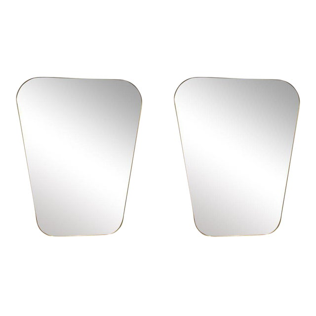 Pair of Rounded Trapezoid Brass Mirrors For Sale