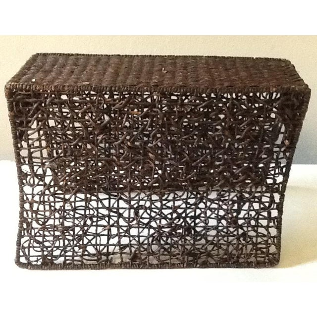 Vintage Brown Wicker Magazine Stand For Sale - Image 6 of 7