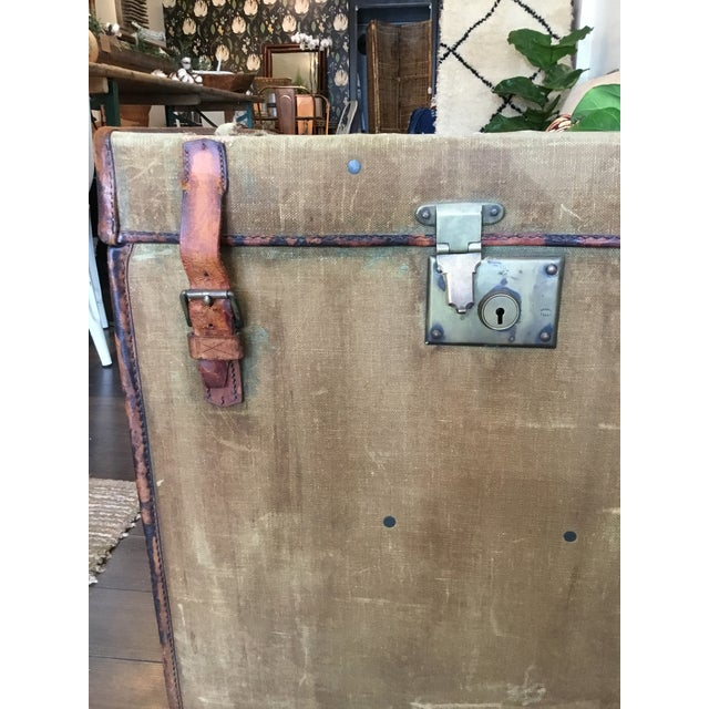 20th Century Rustic Leather and Canvas Trunk For Sale - Image 9 of 13