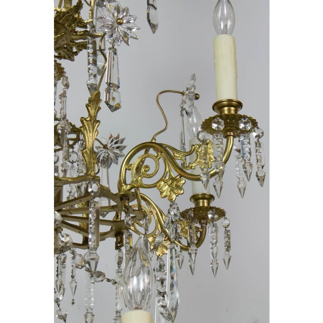 Victorian Brass and Crystal Eighteen Light Chandelier For Sale In Boston - Image 6 of 11