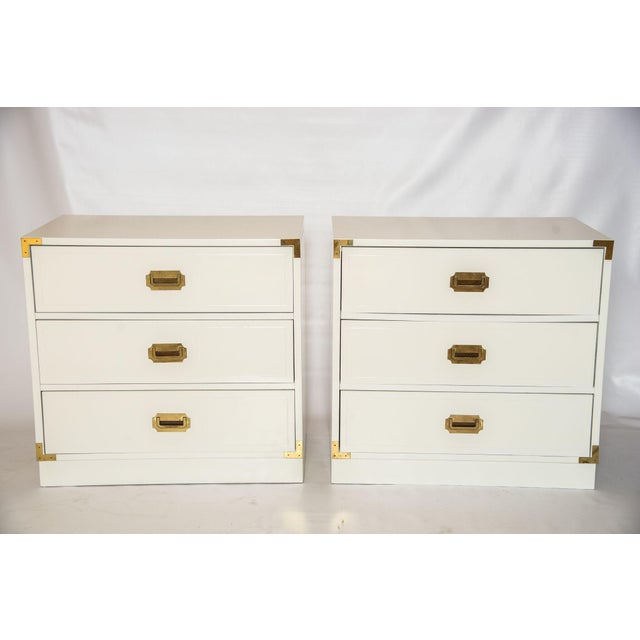 White Lacquered Campaign Chests - Pair - Image 2 of 5
