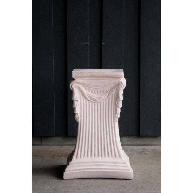 Contemporary Pink Plaster Pedestal / Plant Stand / Side Table For Sale - Image 3 of 11