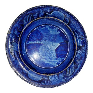 19th Century Blue Transfer-Decorated Staffordshire Pottery Dessert Plate