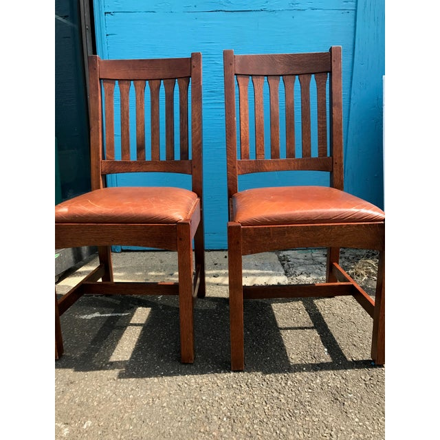 Stickley Mission Cottage Oak & Leather Side Chairs - A Pair - Image 10 of 11