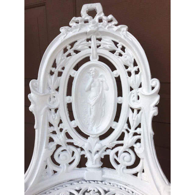 Traditional Pair of Victorian Angel Motif Wrought Iron Garden Chairs, Restored For Sale - Image 3 of 12