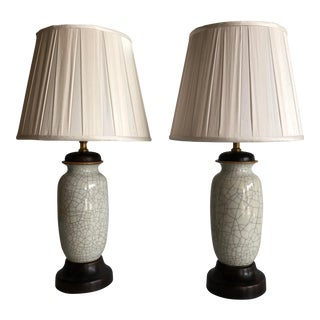 1920 Chinese Crackleware Vase Lamps - a Pair For Sale