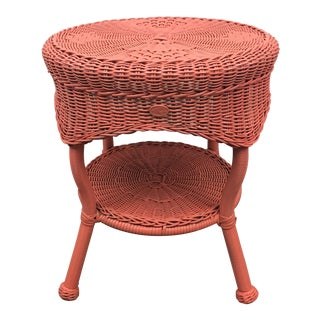Coral Colored Round Wicker Table