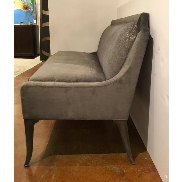 2010s Caracole Gray Velvet Settee or Banquet Bench Prototype For Sale - Image 5 of 7