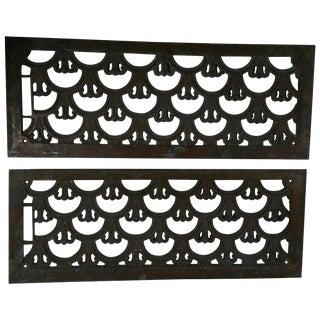 Matching Art Deco Bronze Grates - A Pair For Sale
