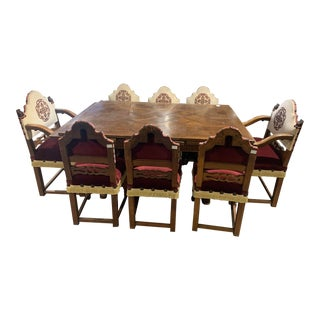 California Mission Table With Eight Chairs Upholstered With Cream and Red Embroided Velvet Fabric. For Sale