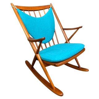 Vintage Danish Mid Century Modern Teak Rocking Chair by Frank Reenskaug for Bramin For Sale