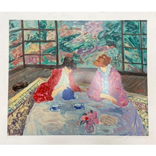 """The Garden Room"" Original Hand-Numbered Serigraph by Barbara a Wood Circa 1989 For Sale"