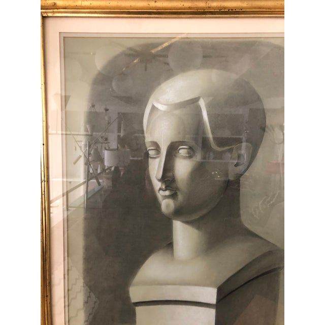 Vintage Charcoal Portrait in Neoclassic Style For Sale - Image 4 of 5