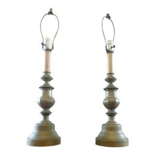 20th Century Traditional Balustrade / Candlestick Style Table Lamps - a Pair For Sale
