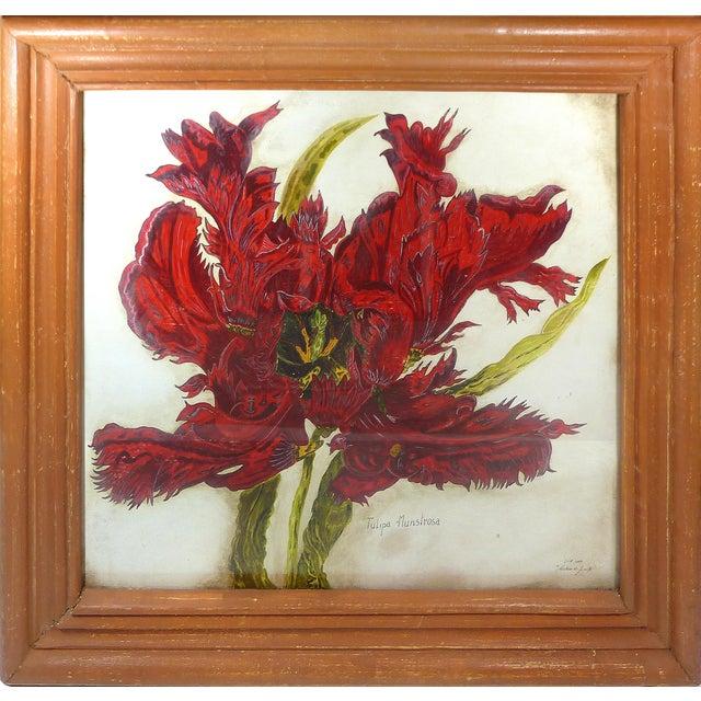 Vintage Red Tulip Flower Original Painting For Sale