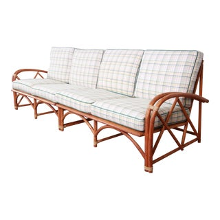 Heywood Wakefield Mid-Century Modern Rattan Sofa with Plaid Upholstery For Sale