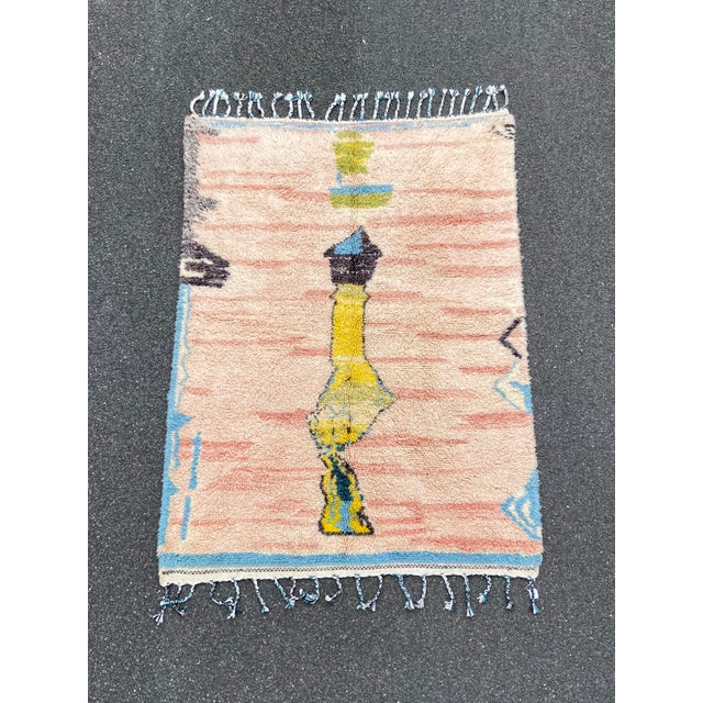 Textile Moroccan Pink Wool Rug For Sale - Image 7 of 7