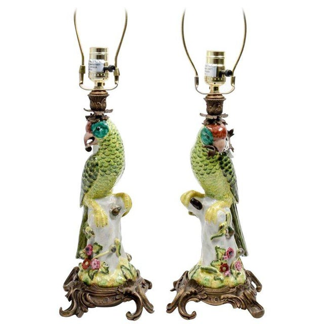 Gold 20th Century Hollywood Regency Continental Porcelain Figural Lamps - a Pair For Sale - Image 8 of 8