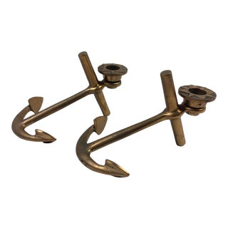 1960s Heavy Brass Anchor Candleholders - a Pair For Sale