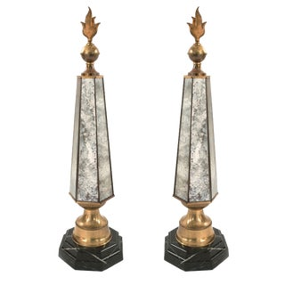 French 1940s Smoked Mirror Hexagonal Obelisks - a Pair For Sale